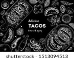 tacos cooking and ingredients... | Shutterstock .eps vector #1513094513