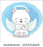 Stock vector lovely cute white angel kitten little kitten happy birthday greeting card 1513116623