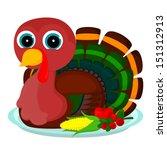 turkey sits on a platter   Shutterstock . vector #151312913
