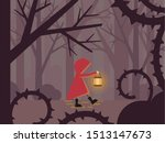 red riding hood in a forest | Shutterstock .eps vector #1513147673