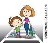 sad little boy going to school...   Shutterstock .eps vector #151315778