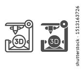 3d printer line and glyph icon. ...