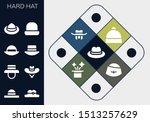 hard hat icon set. 13 filled... | Shutterstock .eps vector #1513257629
