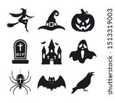halloween icons set. pumpkin ...   Shutterstock .eps vector #1513319003