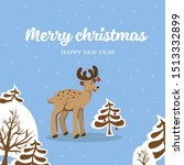 cartoon little deer with horns... | Shutterstock .eps vector #1513332899