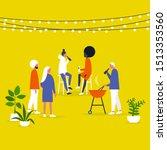 block party. garden. backyard.... | Shutterstock .eps vector #1513353560