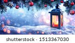 christmas on snow with snowy... | Shutterstock . vector #1513367030