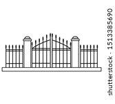 halloween cemetery gate... | Shutterstock .eps vector #1513385690