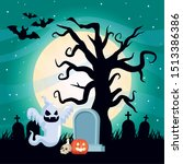 halloween dark scene with... | Shutterstock .eps vector #1513386386
