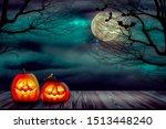 halloween backdrop with...   Shutterstock . vector #1513448240