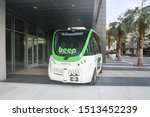 Small photo of Orlando, Florida / USA - September 18, 2019: New Navya driverless Autonomous Vehicle in Lake Nona Florida on first day of operations with Go Beep company to provide passenger transportation mobility