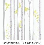 birch tree with deer and birds...   Shutterstock .eps vector #1513452440