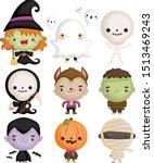 a vector set of cute kids in... | Shutterstock .eps vector #1513469243