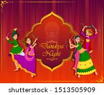 couple performing garba dance... | Shutterstock .eps vector #1513505909