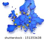 three dimensional map of europe.... | Shutterstock . vector #151353638