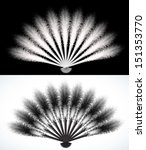 white and  black feathers fan... | Shutterstock .eps vector #151353770