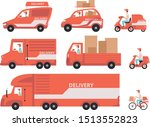 red delivery vehicles set ... | Shutterstock .eps vector #1513552823