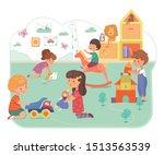 kids in daycare center flat...   Shutterstock .eps vector #1513563539