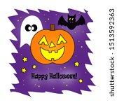 happy jack o lantern  ghost ... | Shutterstock . vector #1513592363