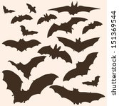 Vector Set of Bats Silhouettes - stock vector