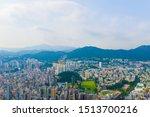 Aerial Top View Of Hong Kong...