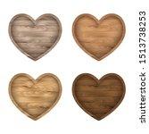 wooden heart sign set. vector... | Shutterstock .eps vector #1513738253