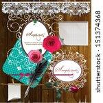 scrap template of vintage worn... | Shutterstock .eps vector #151374368