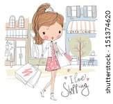 girl with shopping bags on the... | Shutterstock .eps vector #151374620