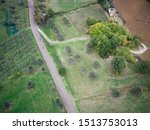 Aerial view of landscpae of umbria, drone fly over nature in central italy, autumnal landscape