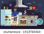 young man washing dishes guy... | Shutterstock .eps vector #1513760363