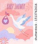 a pastel coloured baby shower... | Shutterstock .eps vector #1513762616