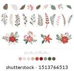 botanical christmas  xmas... | Shutterstock .eps vector #1513766513