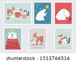 winter forest animals  merry... | Shutterstock .eps vector #1513766516