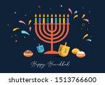 happy hanukkah  jewish festival ... | Shutterstock .eps vector #1513766600
