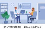 woman talking with man doctor... | Shutterstock .eps vector #1513783433