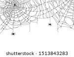 cobweb background. scary spider ...   Shutterstock .eps vector #1513843283