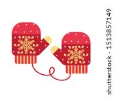 red mittens. snowflakes on...   Shutterstock .eps vector #1513857149