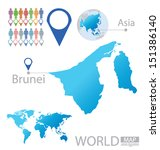 Brunei. Asia. World Map. vector Illustration. - stock vector