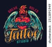 tattoo studio vintage colorful... | Shutterstock .eps vector #1513891949