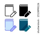 write a book icon. with outline ...