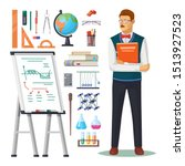 teacher with book and school... | Shutterstock .eps vector #1513927523