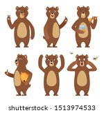 brown bear cartoon. wild animal ... | Shutterstock . vector #1513974533