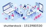 people in coworking office...   Shutterstock . vector #1513980530