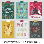 christmas greeting cards with... | Shutterstock .eps vector #1514011070