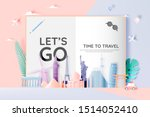 various travel attractions in... | Shutterstock .eps vector #1514052410