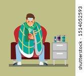 man with flu sickness  sitting...   Shutterstock .eps vector #1514052593