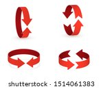 3d Rotation Sign Red Icon. 360...