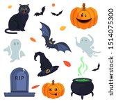 halloween cat cauldron pumpkin... | Shutterstock .eps vector #1514075300