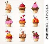 cupcakes set eps10 vector...