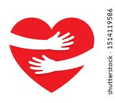 hands embracing red heart with... | Shutterstock .eps vector #1514119586